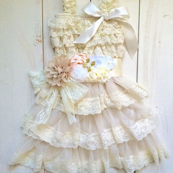 Rustic girl dress with pink sash,  ivory country Champagne, cream lace chiffon dress, flower girl, bridal wedding, shabby, vintage