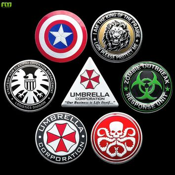 FLYJ 3D motorcycle Metal Marvel Car Stickers Agents of SHIELD Batman pegatina Ironman  Emblema Car accessories Styling