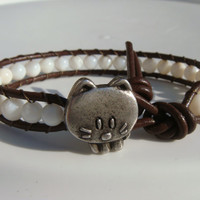 Shell Beaded Leather Bracelet with Cat Button