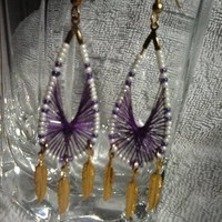 Purple, ivory and gold thread wrapped earrings