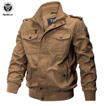 Trendy RUELK 2018 Autumn And Winter Men's Lapel Jacket Long-sleeved Shirt Flight Clothing Military Wind Pocket Decoration Large Size AT_94_13