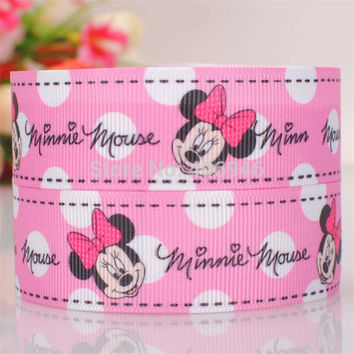 Lovely Pink Minnie Mouse Grosgrain Ribbon Polka Dot 22mm Polyester Single Face Ribbons DIY Hair Bow Accessories 5Yards
