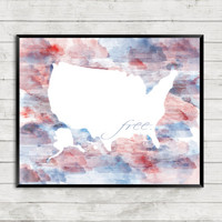 Patriotic Watercolor, USA Watercolor, Patriotic Art, USA