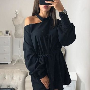 New Black Cut Out Sashes Long Sleeve Fashion Pullover Sweatshirt