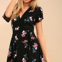 Picturesque Love Pink and Black Floral Print Wrap Dress