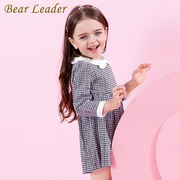 Bear Leader Girls Dress 2017 New Autumn Preppy Style Girls Dress White and Black Plaid Cute Neck Princess Dress For 3-7 Years