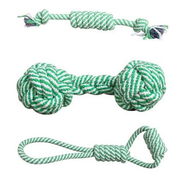 Dog Toy Puppies Chew Tooth Cleaning Cotton Rope with Handle Knot Bite Resistant Ball Teeth Pet Toys