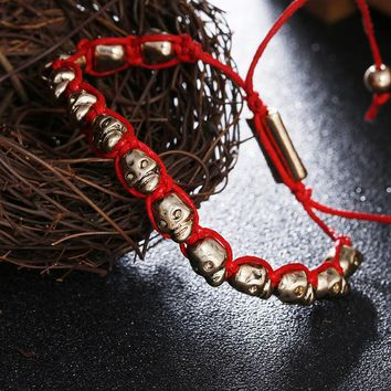 Hand Craft Red Thread Bracelet Gold Skulls