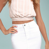 Pop and Lock White Denim Mini Skirt
