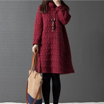6068# Oversize Maternity Dresses in Autumn and Winter Long Sleeve Turtleneck Clothes for Pregnant Women Pregnancy Clothing = 1946041092
