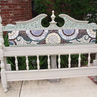 Broken China Mosaic Headboard - CUSTOM Made to Order - Full or Queen with or without footboard