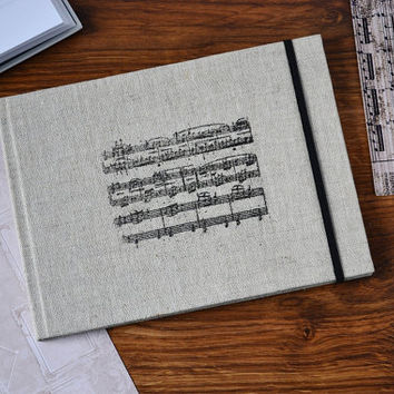 Sheet music notebook Composer journal Music pages notebook A5 blank journal Notebook fabric Journal handmade Hard cover notebook for notes