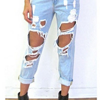 Destroyed Boyfriend Jeans in Blue
