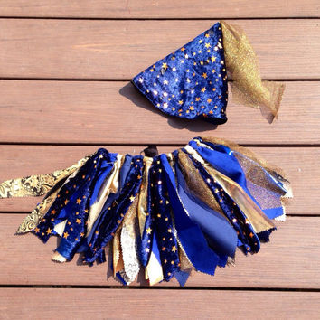 Wizard costume - baby wizard Tutu - Halloween Tutu, shabby  chic fabric tutu skirt - Choose your size - navy blue and gold with stars