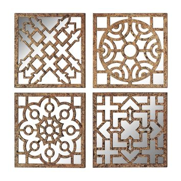 Mirrored Wall Panels - Set of 4 Gold,Antique