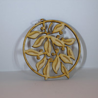"""Laser engraved and cut 1/8"""" thick birch plywood Christmas ornament of Mistletoe and berries"""