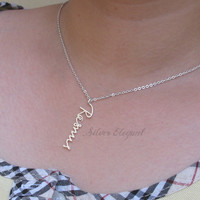 Vertical Signature Pendant - Handwriting Jewelry - Personalized Mother's Day Gift  - Sterling Silver /18K Gold Plated