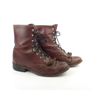 Brown Roper Boots Vintage 1980s Distressed Laredo Lace up Boots Women's size 8 M