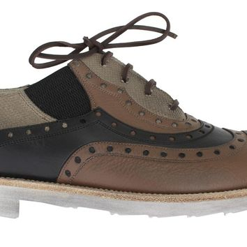 Beige Brown Leather Wingtip Shoes