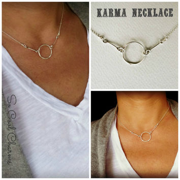 Sterling Silver KARMA Necklace, Infinity silver necklace, handmade karma necklace