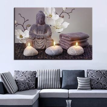 Canvas Painting Home Decor Wall Art 1 Piece Buddha Stone Candle Fire Pictures Living Room HD Prints With Orchid Poster Framework