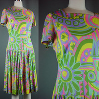 60s Psychedelic Dress Vintage Op Art 1960s 1970s Bright Colorful Drop Waist Scooter Shirt Sleeve L B 38""
