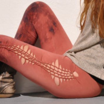 Braided Galaxy Leggings - Hand dyed - Peach and Navy Blue - splattered leggings - Ombre leggings - size S