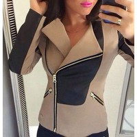 Turn-Down Collar Long Sleeve Faux Leather And Tan Slimming Women's Jacket