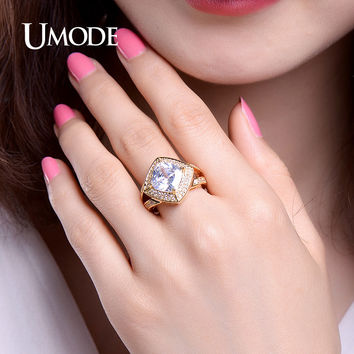 UMODE Luxury 3.87ct Cushion Cut Cubic Zirconia Split Shank Wedding Rings White / Rose Gold Color Jewelry for Women UR0366