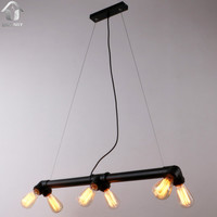 Black Antique Rustic Metal Water Pipe Hanging Ceiling Pendant Light with 6 Lights