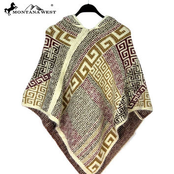 Montana West Aztec Pattern Cape with Hoodie