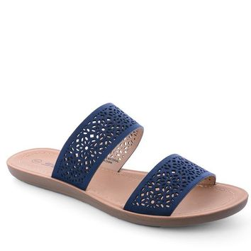 Navy Dakota Laser Cut Sandal