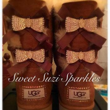 CHEN1ER Custom Bling Ugg boots, Chestnut Bailey Bow....(other co