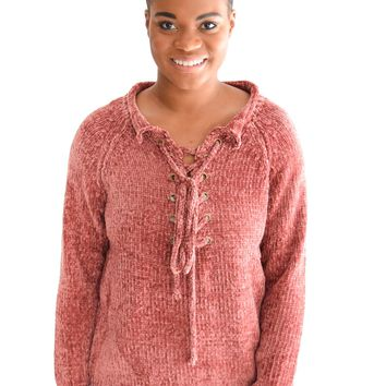 Far Out Lace Up Sweater