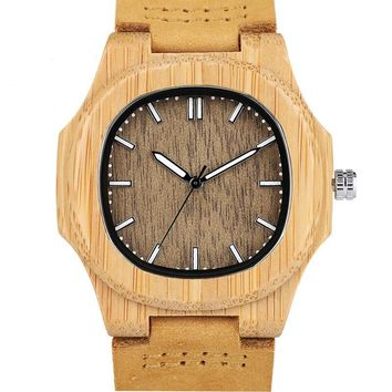 Men Women Wooden Watch Creative Round Shape Dial Light Wood Case Genuine Leather Band Bamboo Wood Clock Male Reloj de madera TOP