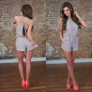 Hot Sale Sleeveless Vest Sexy Backless Shorts Jumpsuit [4970291332]