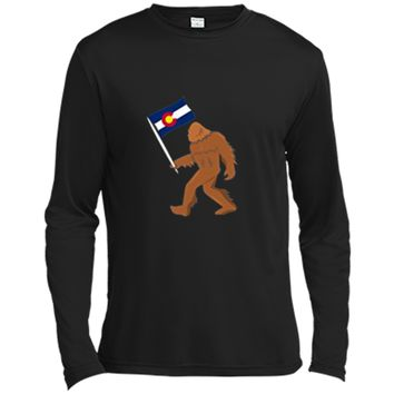 Bigfoot Fourteeners Colorado Apparel Colorado Flag T shirt Long Sleeve Moisture Absorbing Shirt