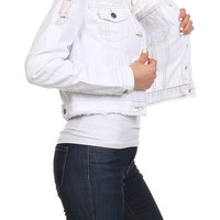 Chiqle Womens White Denim Jacket with Crochet Detail Back Young Adults