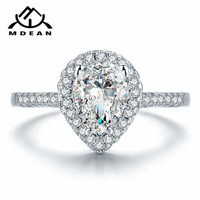 Pear Shaped White Gold Plated Crystal Ring