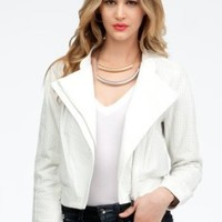 bebe Perforated Contrast Leather Bomber Jacket Leather White-m