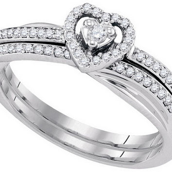 10kt White Gold Womens Round Natural Diamond Bridal Wedding Engagement Ring Band Set 1/4 Cttw