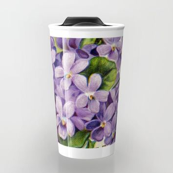 Vintage Victorian Purple Flowers Travel Mug by Leah McPhail