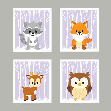 Forest Animals on Lavender, Woodland Animals, CUSTOMIZE COLORS, 8x10 Prints, set of 4, Nursery Decor, Animal Print, Baby Girl Wall Prints