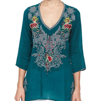 Mendi V-Neck 3/4-Sleeve Embroidered Tunic, Women's, Size: