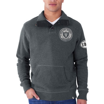 Oakland Raiders '47 Brand Hanover 1/4 Button Pullover Sweatshirt – Charcoal