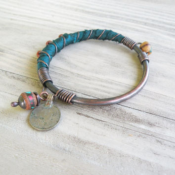 Silk Road Bangle - Dark Teal Bracelet, Handmade Copper Bangle, Silk Wrapped Charm Bangle