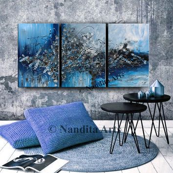 """Extra Large Wall Art Blue Painting 72"""" Watercolor Painting Abstract Original Home Decor Modern Art Ocean Painting Triptych, Nandita Albright"""