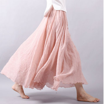 513669712 Summer Women Long Skirts Linen Cotton Elastic Waist Pleated Maxi
