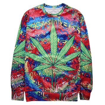 Trippy CannaLeaf Kush Crew-Neck Sweatshirt - CannaCrews