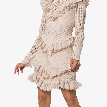 unbridled battenburg lace mini dress